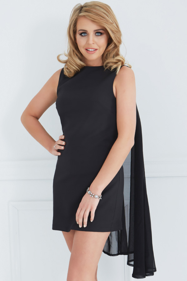 Lydia Rose Bright Black Cape Mini Dress