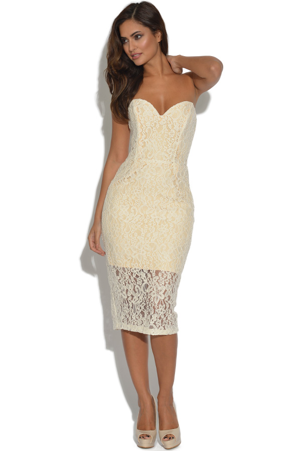Lydia Rose Bright Cream Lace Sweetheart Dress