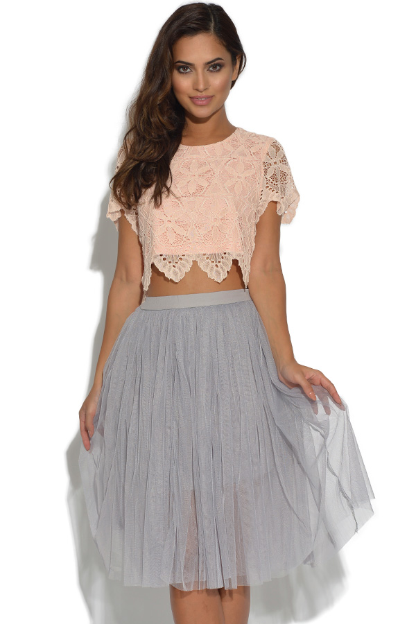 Lydia Rose Bright Lace Boxy Crop Top