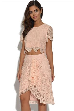 Lydia Rose Bright Lace Midi Pencil Skirt