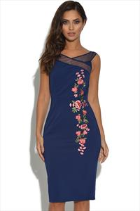 Little Mistress Navy Floral Embroidered Bardot Dress