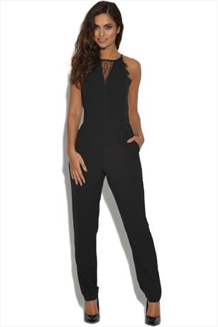 Girls On Film Black Lace Insert Jumpsuit