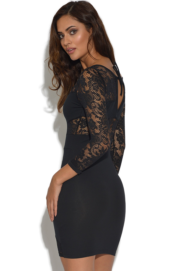 Quontum Black Lace Panel Dress