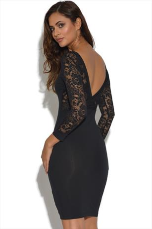Quontum Lace Plunge Back Midi Dress