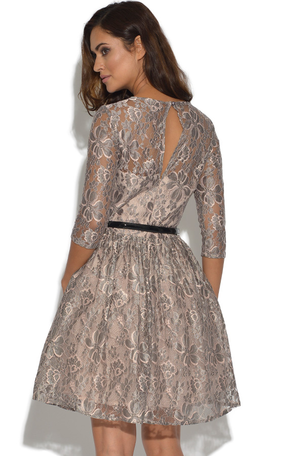 Little Mistress Mink Lace Skater Dress