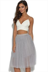 Lydia Rose Bright Lilac Grey Tulle Ballerina Midi Skirt