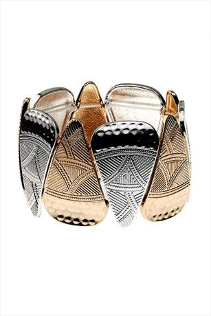 Silver and Gold Aztec Print Bracelet