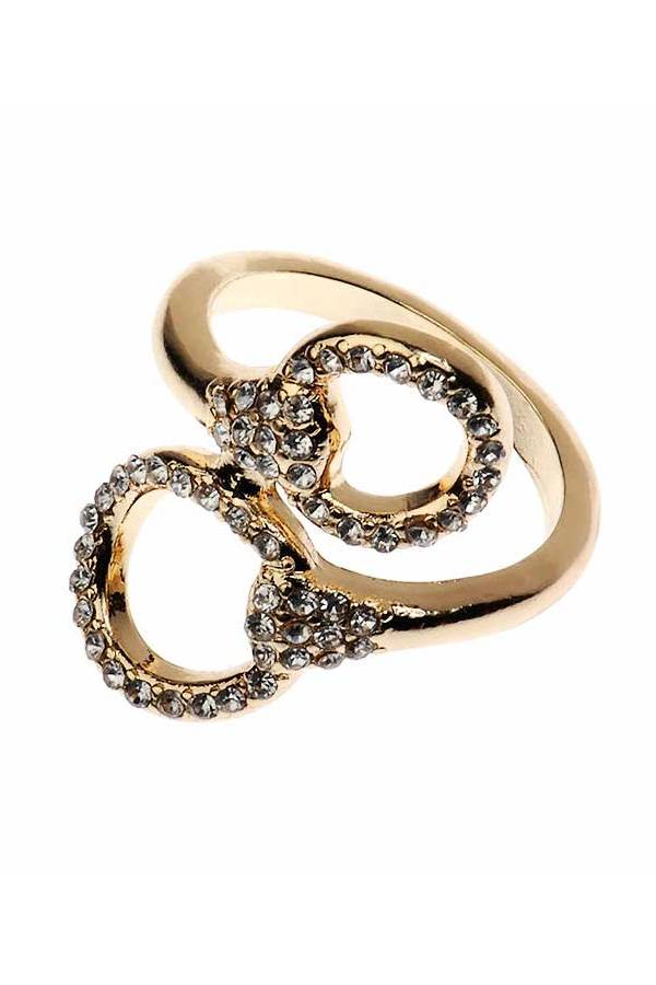 Diamante Embellished Gold Ring