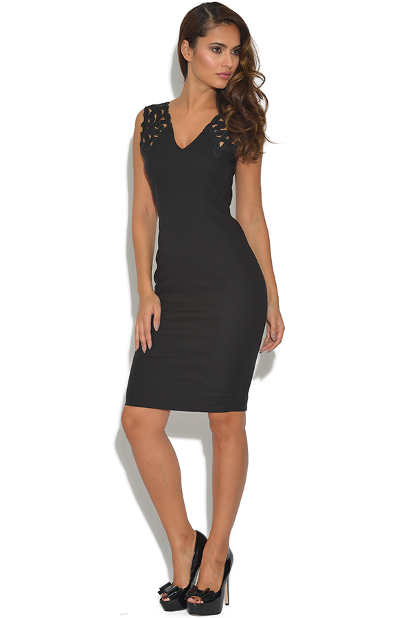 Paper Dolls Black Cut Out V Neck Dress