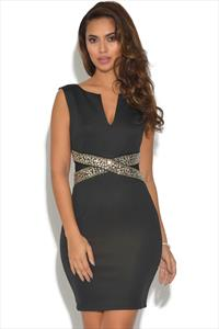 TFNC Black Embellished Mini Dress