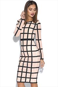 Nude and Black Luxe Long Sleeve Bandage Dress