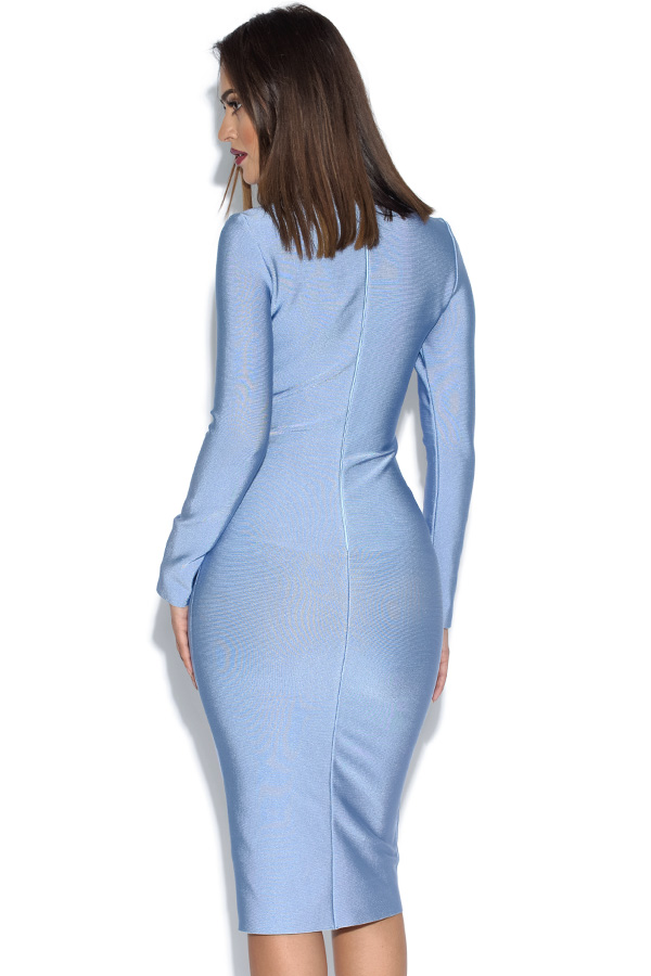 Long Sleeved Luxe Blue Bandage Dress