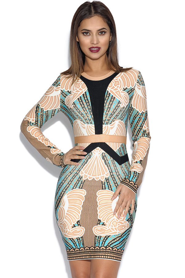 Long Sleeved Printed Bandage Dress