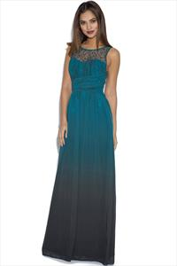 Little Mistress Teal Dip Dye Embellished Neck Maxi Dress