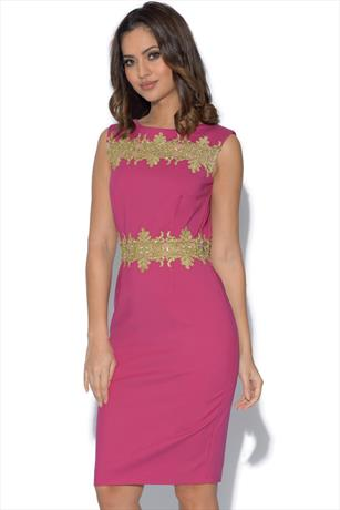 Paper Dolls Gold Lace Trim Berry Dress