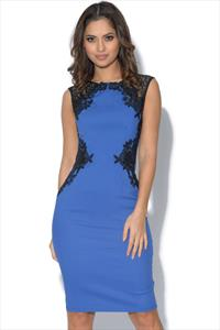 Paper Dolls Blue Black Lace Detail Illusion Dress