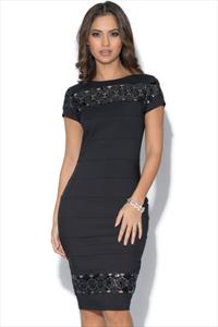 Paper Dolls Black Panel Sequin Dress