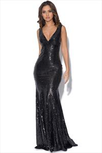 Sequinned Low V Neck Maxi Dress
