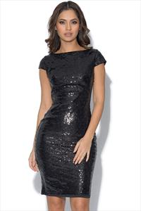 Open Drape Back Sequin Dress