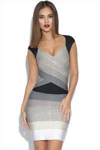 Black and Grey Ombre Bandage Dress