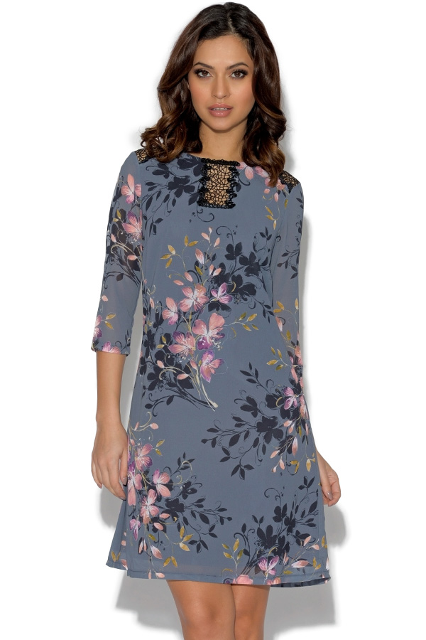 Little Mistress Floral Print Lace Tunic Dress