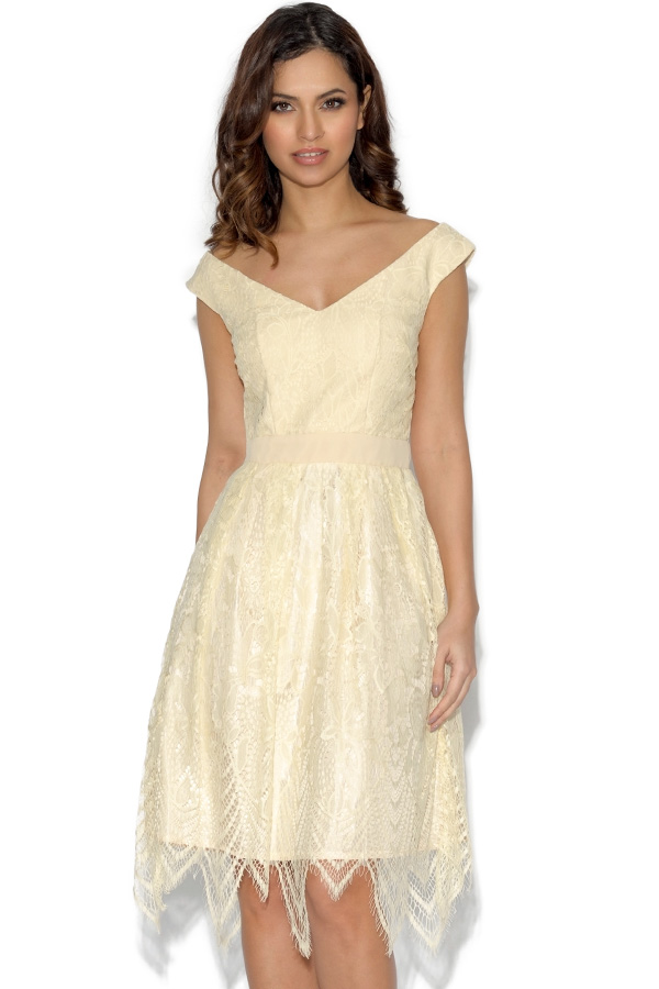 Little Mistress Cream Lace Prom Dress