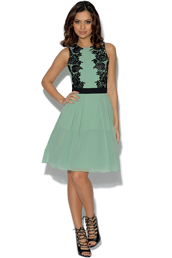 Little Mistress Sage Lace Prom Dress