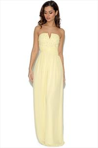 Little Mistress Lemon Embellished Bandeau Maxi Dress