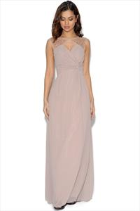 Little Mistress Mink Embellished Drape Front Maxi Dress