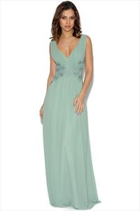 Little Mistress Sage Lace Waist Maxi Dress