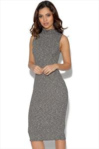 Girls On Film Grey Roll Neck Jumper Dress