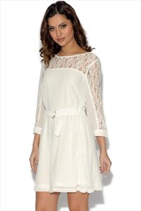 Girls On Film Cream Lace and Chiffon Dress
