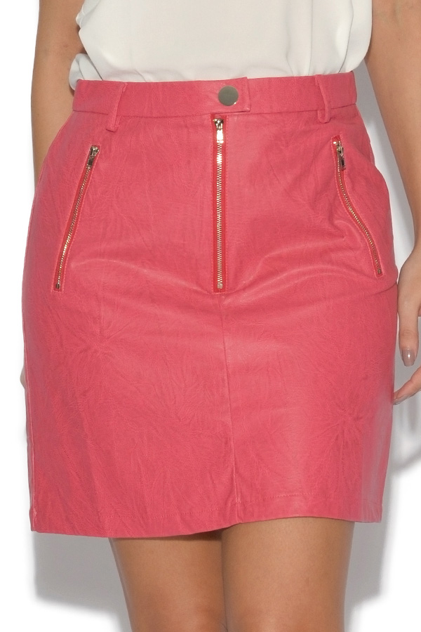 Girls On Film Faux Leather A-Line Skirt