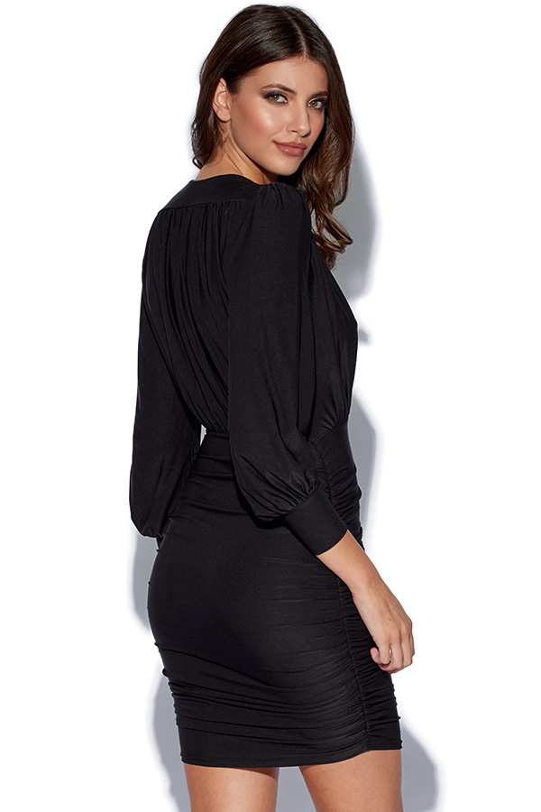 Long Sleeved V Neck Ruched Dress