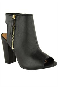Black Peep Toe Ankle Boots