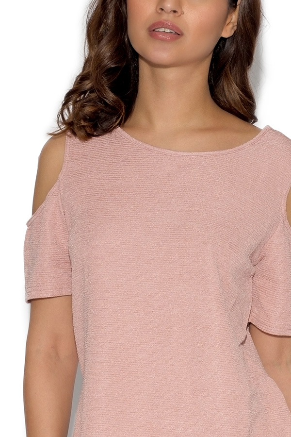 Cut Out Shoulder Textured Top