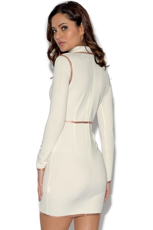 RARE White and Gold Long Sleeve Bodycon Dress
