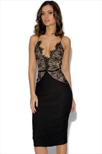 RARE Scallop Lace Bodice Midi Dress