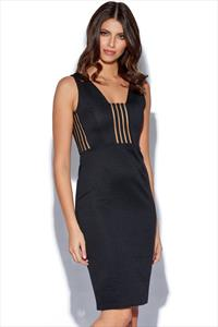 RARE Mesh Stripe Panel Midi Dress