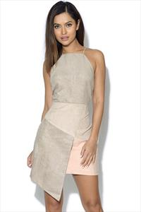 RARE Faux Suede Asymmetric Mini Dress