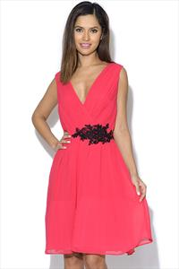Little Mistress Cherry Pink Applique Crossover Dress