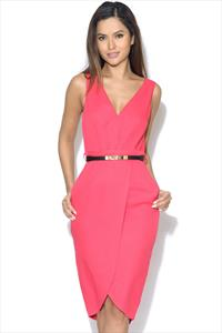 Little Mistress Pink Wrap Front Plunge Midi Dress