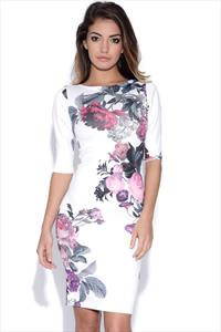 Pretty Floral Print Bodycon Dress
