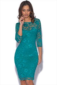 Teal Backless Lace Dress