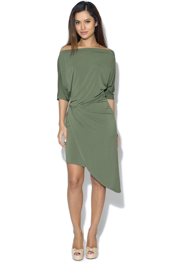 Off The Shoulder Asymmetric Dress