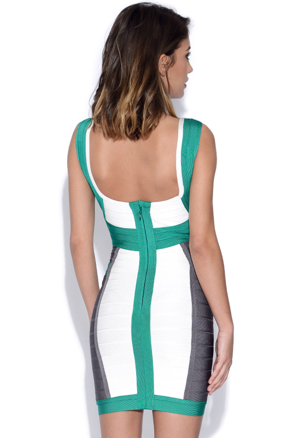 Teal White and Grey Bandage Dress