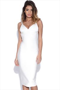White Cut Out Back Bandage Dress