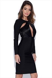 Long Sleeved Wrap Front Black Bandage Dress