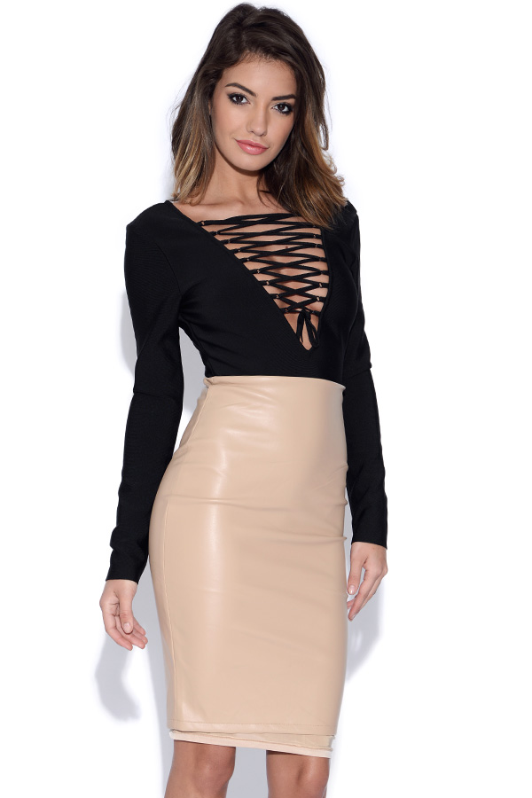 Black and Nude Lace Top Bandage Dress