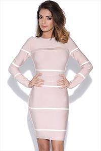 Cut Out Panelled Long Sleeved Bandage Dress